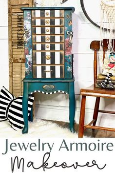 Good news! Painted jewelry armoire pieces are back! They are the perfect accent piece and organizational godsend to any woman's bedroom. I painted this jewelry box in Dixie Belle's Antebellum Blue, a rich deep teal. The black & white stripes are my signature whimscal touch & focal point of this piece. Click over to the blog at traceysfancy.com for the chalk paints + supply list, including the Woodubend bow & fair doory on the sides. A fun little whimsical surprise! #chalkpainted #jew Furniture Makeover Diy, Painted Jewelry Armoire, Jewelry Armoire, Revamp Furniture, Woman Bedroom, Furniture, Furniture Inspiration, Diy Home Decor Projects, My Furniture