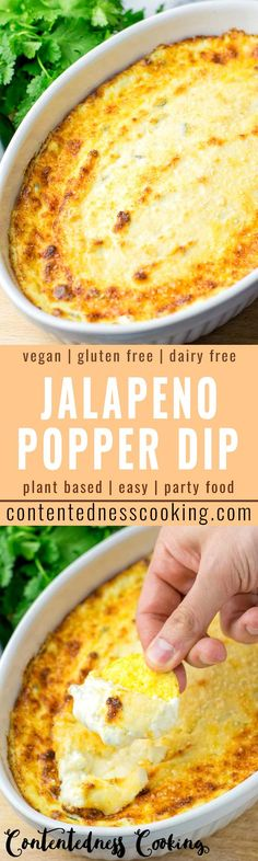 This Jalapeno Popper Dip is easy to make and delish hot or cold If you are looking for a not only vegetarian but also vegan jalapeno dip recipe this is the best one for y. Dip Recipes, Vegan Recipes Easy, Whole Food Recipes, Vegetarian Recipes, Cooking Recipes, Dairy Free Jalapeno Poppers, Jalapeno Popper Dip, Vegan Foods, Vegan Snacks
