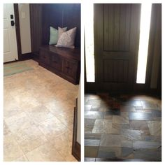 Travertine and slate tiled entry ways  love the color of the tile on right!!!