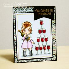 """It's time for a new Naughty or Nice Challenge ! This month our theme is """"For the ladies"""" . Easy peasy, right? There She Goes, Easy Peasy, You Can Do, I Card, Cocktails, Challenges, Paper Crafts, Nice, Holiday Decor"""