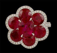 Platinum Ruby & Diamond Flower Ring - Yafa Jewelry