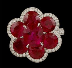 Platinum Ruby & Diamond Flower Ring - Yafa Jewelry