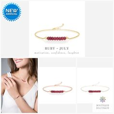 Genuine Ruby Bracelet in Gold, Rose Gold or Sterling Silver – Personalized Jewelry Gift for Women – July Birthstone – ruby jewelry Dainty Gold Jewelry, Ruby Jewelry, Jewelry Gifts, Ruby Bracelet, Gemstone Bracelets, Red Gemstones, July Birthstone, Matching Necklaces