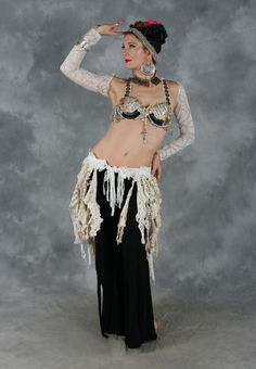 Dahlal Internationale Store - RETRO LACE FRINGE BELT in Antique White and Cream, for Belly Dance, $80.00 (http://www.dahlal.com/retro-lace-fringe-belt-in-antique-white-and-cream-for-belly-dance/)