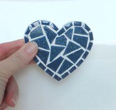 Blue Heart Magnet mini mosaic kitchen magnet in por MollycatMosaics, $12.00