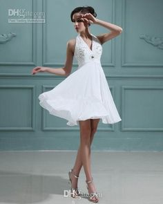 designer wedding dresses deserves your buy. Like  2014 summer short beach wedding dresses empire waist halter neck crystals beads white chiffon mini bridal gowns custom made w250, such a wonderful dress, dresses for wedding and formal dress will not disappoint you, too. Trustfind_my_dress and take action now.