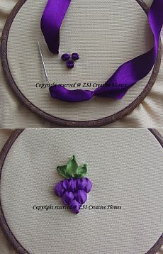 Wonderful Ribbon Embroidery Flowers by Hand Ideas. Enchanting Ribbon Embroidery Flowers by Hand Ideas. Ribbon Embroidery Tutorial, Silk Ribbon Embroidery, Embroidery Patterns, Embroidery Stitches, Hand Embroidery, Simple Embroidery, Machine Embroidery, Ribbon Art, Ribbon Crafts