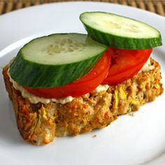 Zucchini Bread with Roasted Red Peppers and Feta with Hummus, Tomatoes and Cucumber