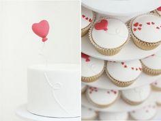 simple heart cake & cupcakes