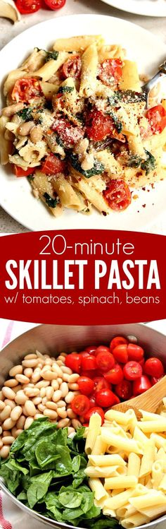 20-Minute Skillet Pasta with Tomatoes, Spinach and Beans recipe - creamy sauce, delicious penne pasta, sweet cherry tomatoes, beans and fresh spinach make this vegetarian dinner idea a must-try! It's ready in just 20 minutes! Sponsored by Ronzoni Gluten Free Pasta #ad