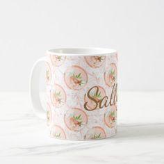 Pretty Peach Watercolor Floral Bird Personlaized Coffee Mug - watercolor gifts style unique ideas diy