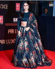 Buy Katrina Kaif Black Floral Lehenga Choli with the best price. The Lehenga Choli comes with Organza Silk and Bridal Mono Net dupatta. Floral Lehenga, Lehenga Choli, Anarkali, Churidar, Black Lehenga, Lehenga Skirt, Lehenga Style, Sarees, Choli Designs