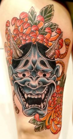 ~ Japanese tattoo ~ hannya and chrysanthemums by Cohen Floch Tattooer