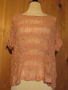 Bebe 2b W's SS Tape Yarn Open Stitch Drapey Sweater Pink Size M/L $34 - NWT #2bbebe #DrapeyShortSleeve