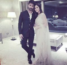 #ShahidKapoor with his wife #MiraRajput after #marriage.