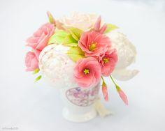 """Bouquet """"La coquette de fleur"""" Cold porcelain Dried Flowers Home Decor Flower arrangement Artificial bouquet Bouquet of peonies"""