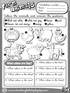 Farm  Animals - Worksheet 3 (B&W version)
