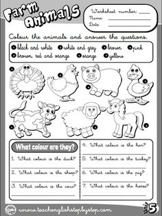 Farm  Animals - Worksheet 3 (B&W version)