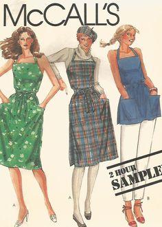 UNCUT! VINTAGE MISSES' APRON, WRAP DRESS AND TOP SEWING PATTERN
