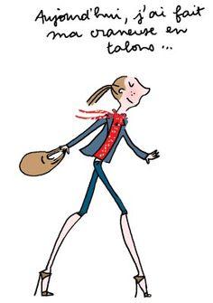 craneuse ! French Illustration, Woman Illustration, Funny Illustration, Illustrations, Take A Smile, Lazy Humor, Happy Wedding Day, Happy Words, Girls Life