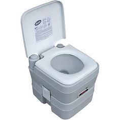 Portable flushing toilet for your own private tailgating restroom!  Century Portable Toilet with 5-Gallon Capacity Holding Tank