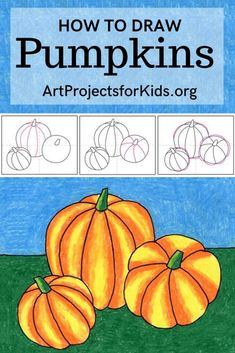 Learn how to draw Pumpkins with this fun and easy art project for kids. Simple step by step PDF tutorial available. #howtodraw #artprojectsforkids #pumpkin