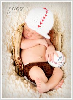Baby Baseball Hat  - Crochet, custom colors available. $16.00, via Etsy. Love the picture too