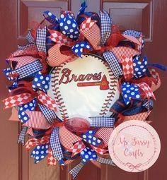 Atlanta Braves Baseball Wreath - Red and Blue Deco Mesh Wreath - Blue Polka Dot Ribbon - Red Stripe Ribbon - Blue Plaid Ribbon - Red Diamond by MsSassyCrafts on Etsy https://www.etsy.com/listing/232776860/atlanta-braves-baseball-wreath-red-and
