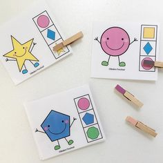 Smiley shapes clip cards - this was a great activity using an easy and fun theme with a challenging skill - julia could match the colours and shapes with no problem and needs a lot of practice using the clips - great fine motor skills. I found these awesome free printables  from @modernpreschool and laminated as i think we will use them again ;)