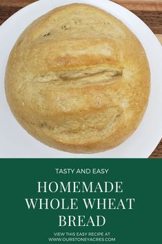 This Rustic Round Loaf Bread recipe will soon become your family's favorite bread. It is so quick and easy to make, that you will want to make it every day! Loaf Bread Recipe, Bread Recipes, Real Food Recipes, Quick Recipes, Healthy Recipes, Delicious Recipes, How To Make Bread, Food To Make, Whole Wheat Bread