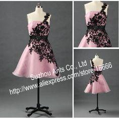 Buy 2012 Designer Organza Pink Black Lace Prom Dress Short Evening One Shoulder RE198 on Aliexpress.com