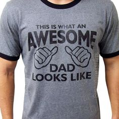 ecd990fb AWESOME DAD This is what an dad looks like Mens daddy T-shirt RINGER shirt  tshirt gift Father's Day