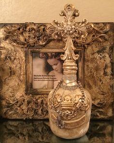 Michelle Butler Designs Cross & Crown Bottle in Gorgeous Champagne & Gold Finish SHOP www.crownjewel.design