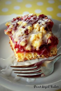 Easy Cherry Cobbler - yellow cake mix, flour, packet yeast, 2 eggs, 2 cans cherry pie filling, butter, powdered sugar