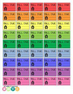 Printable Bill Due Stickers - Brights - Planner Stickers - Printable - Erin Condren - MAMBI - Filofax - Inkwell Press - Plum Paper Planner