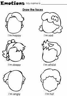 Teach feelings - Kindergarten Coloring Pages and Worksheets Kindergarten Coloring Pages, Preschool Worksheets, Ks2 English Worksheets, Esl Worksheets For Beginners, Free Worksheets For Kids, Printable Worksheets, Free Printable, Printables, Social Emotional Learning