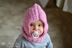 Free Crochet Pattern - Crochet Baby Hooded Cowl | Keep baby warm and cozy in this hood cowl.