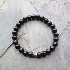 Genuine Black Tourmaline Bracelet w/ Sterling Silver Charm