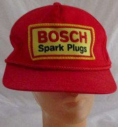 8e563a971e2 Bosch Snapback Trucker Cap Cotton Hat Spark Plug NOS Vintage Red  Unbranded   Trucker