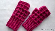 Теплые митенки крючком. Crochet fingerless mittens. gloves tutorial