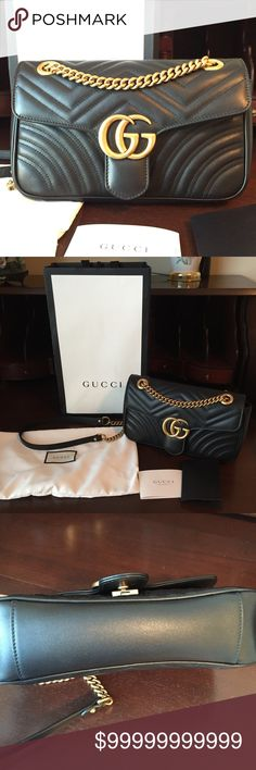 Gucci Marmont matelasse Small Shoulder Bag 100% Authentic. I'm still considering selling this to purchase another bag. I was just seeing if there is any interest in it. Only selling through 🅿️🅿️. Comes with dust bag, shopping bag, original receipt with my info scratched out, all cards/care booklet. More pictures can be sent through email, serious inquiries only. Purchased 11/26/16 in Las Vegas. Worn a few times. Minor scratches to inside flap, minor scratch on bottom (pictured) No damage…