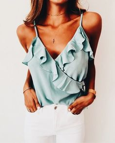 love this ruffled egg shell blouse!