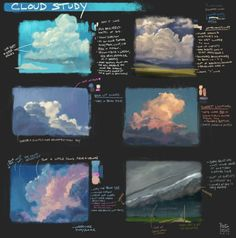 Cloud Studies by YogFingers Welcome to Drawing Den, an online collection of the most helpful art resources and tutorials! Concept Art Tutorial, Digital Art Tutorial, Digital Painting Tutorials, Painting Tips, Art Tutorials, Cloud Drawing, Cloud Art, Environment Painting, Environment Concept Art