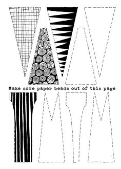 Jewelry Making Beads How to Make Paper Beads - Tutorial Free Printable - Playing with paper can be wildly creative. In this tutorial, paper beads are created by playing with texture and pattern. But if you don't feel like wh. Paper Beads Tutorial, Paper Beads Template, Make Paper Beads, Paper Bead Jewelry, How To Make Paper, How To Make Beads, Candy Jewelry, Resin Jewelry, Jewelry Rings