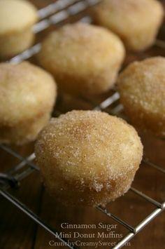 Cinnamon Sugar Mini Donut Muffins by CrunchyCreamySweet.com