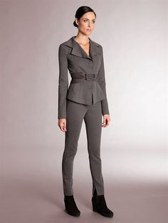 I have to have this - a suit that is comfortable and sharp! #DonnaKaran belted seamed jacket and pull-on skinny pants