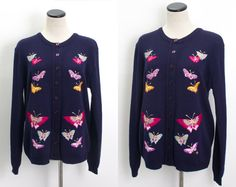 VTG 70's Pretty Pink Butterflies Cardigan (Medium / Large) Dark Navy Knit Button Up Sweater Embroidered Butterfly Vintage Sweater