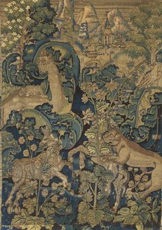 A FLEMISH TAPESTRY FRAGMENT, PROBABLY OUDENAARDE, SECOND HALF OF 16TH CENTURY  Height 82 2/3 in; length 85 1/4 in