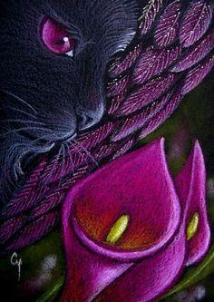 Cyra R. Cancel - BLACK ANGEL CAT - MAGENTA CALLA LILY - Pencil