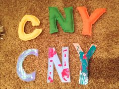 Make your own letters out of fabric, stuffing and glue, or paint and glitter paper and laminate them.  Either way, your little will have preschool fun with tactile learning of their alphabet.